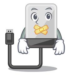 Silent cartoon hard drive in the bag