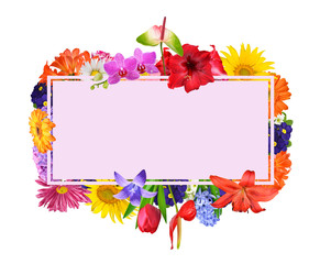 A text card framed with colorful spring flowers isolated on white background.