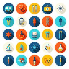 Vector medicine and health design modern flat icons. Medical  flat style symbols.