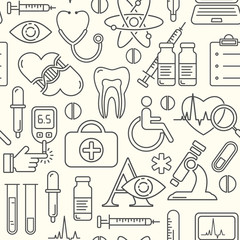 Vector medicine and health design seamless pattern with modern linear icons. Medical background with line style symbols.
