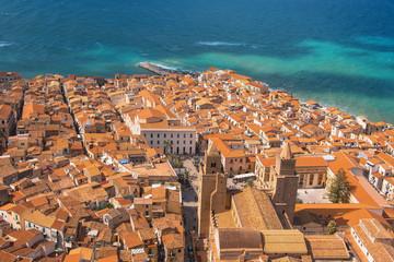 Papiers peints Naples Town Cefalu on Sicily beautiful blue sea view