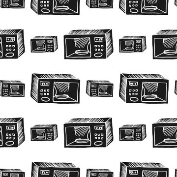 microwave vector seamless pattern