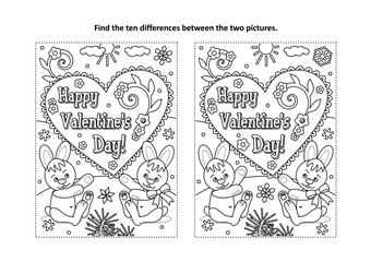 Valentine's Day find the ten differences picture puzzle and coloring page with Happy Valentine's Day greeting text and two cute little bunnies