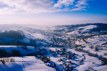 Fototapeten Gebirge Winter scenery in Silesian Beskids mountains. View from above. Landscape photo captured with drone. Poland, Europe.