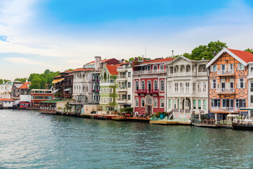 Upmarket waterfront homes along the Bosphorus river in Istanbul,