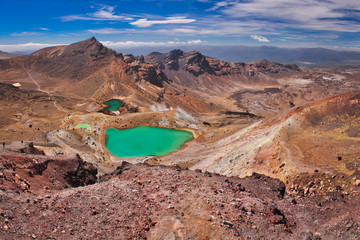 Emerald lakes on Tongariro Crossing track, one of the most beautiful trekking routes in New Zealand