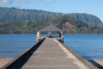 The Pier located in Hanalei Bay, Kauai