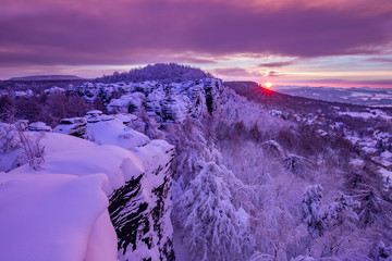 Magical sunrise over Elbe Sandstone Mountains, Czech Republic stock photo