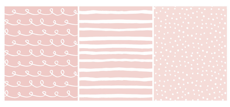 Set of 3 Hand Drawn Irregular Geometric Patterns. White Horizontal Stripes, Dots and Waves with Loops on a Light Pink Background. Cute Infantile Style Illustration. Children's Scrawl Like Design.