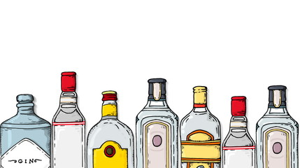Vector Illustration with Gin Bottles Collection Sketch Style