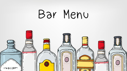 Vector Illustration of Bar Menu Template with Gin Bottles Sketch Style