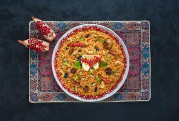 Kerala Vegetable Biryani, Vegetarian dish. Top view.