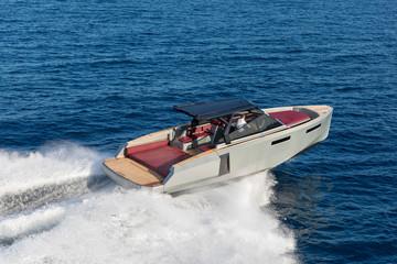 luxury motor boat, aerial view