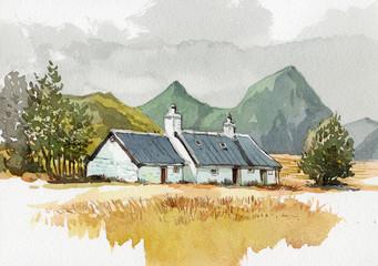Fototapeta cottage watercolor painting obraz