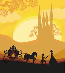 Prince, princess and carriage