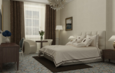 Blur interior design, classic bedroom with master bed and accessories, hotel, resort, spa. Vintage old classic style and decors, background concept idea