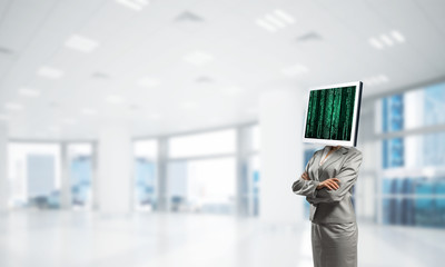 Business woman with monitor instead of head.