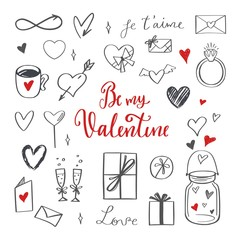 Happy Valentines day vector doodle set with Lettering