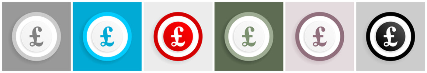 Pound icon set, vector illustrations in 6 options for web design and mobile applications