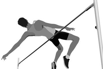 high jump men athlete jumping black-white vector