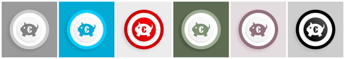Piggy bank icon set, vector illustrations in 6 options for web design and mobile applications