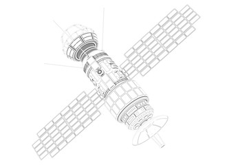 3D illustration of Sci Fi Futuristic Satellite on the white background