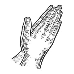 Prayer hands gesture engraving vector illustration. Scratch board style imitation. Black and white hand drawn image.