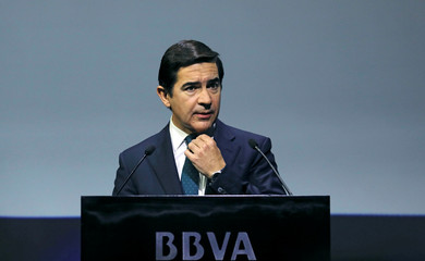 Spanish bank BBVA's chairman Torres gestures during the annual results presentation in Madrid