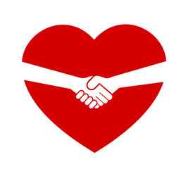Love heart and handshake - Consent, deal and treaty between partner, significant other and lover - consensual sex agreement. Vector illustration