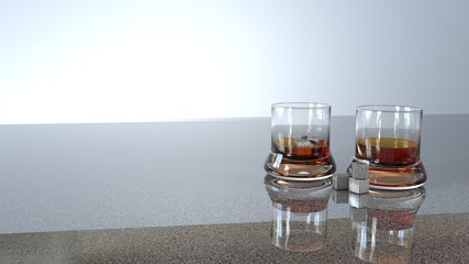 3Drender, Three dimensional illustration of whiskey in a glass