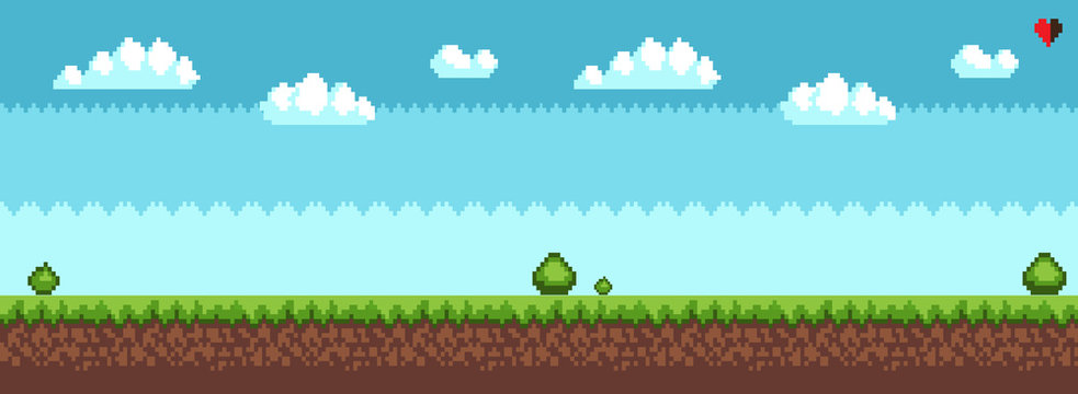 Tree and bush pixel style vector illustration landscape with sky grass and ground. Green plants for 2D game decor, vector tree bush greenery elements