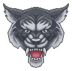 An angry Wolf 8 bit pixel art video arcade game cartoon character mascot