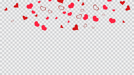 Romantic background. Red hearts of confetti are falling. Red on Transparent background Vector. Design element for wallpaper, textiles, packaging, printing, holiday invitation for wedding.