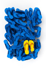 Flip-flops in blue and yellow