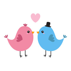 Two bird couple. Pink heart. Happy Valentines Day. Love Greeting card. Boy, girl. Black hat. Cute cartoon kawaii baby character. Flat design. White background.