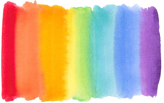 rainbow watercolor background stripe splash.illustration for wedding invitation, greeting or birthday ,banner, tag, label, logo and text.color like yellow,orange, red, blue, green, violet, pink,