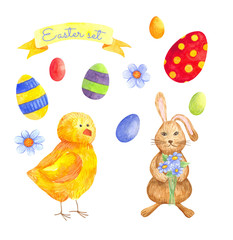 seamless watercolor pattern for Easter with different elements: Easter rabbit. ideal for fabric, wrapping paper, decor