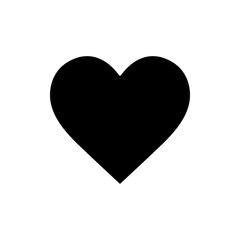 Flat monochrome heart icon for web sites and apps. Minimal simple black and white heart icon. Isolated vector black heart icon on white background.