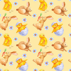 seamless watercolor pattern for Easter with different elements: Easter rabbit, chicken. ideal for fabric, wrapping paper, decor