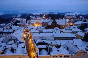 Enns, Upper Austria, View from Clocktower, Winter, Snow