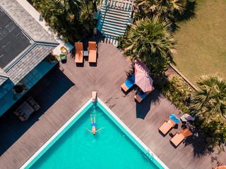 Bagan Myanmar drone aerial view swimming pool