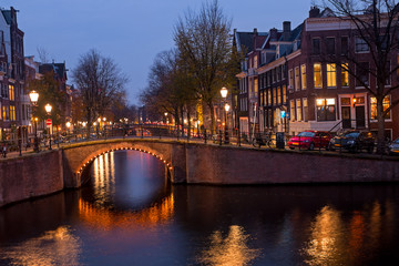 Foto op Plexiglas Amsterdam City scenic from Amsterdam in the Netherlands at sunset