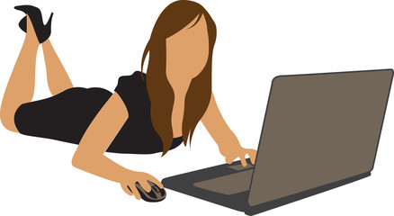 computer girl business woman vector illustration