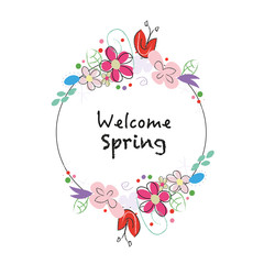 ''Welcome spring'' text chalkboard style wreath with abstract spring flowers background