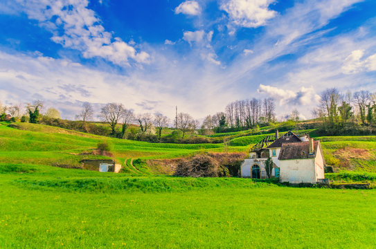 Landscape of an old, abandoned house in the field. Germany