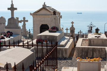 Sete France 08-07-2018.Marine cemetery near the sea at Sete  in the south of France