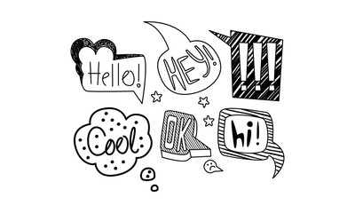 Vector set of hand drawn speech bubbles with short messages. Dialog clouds with text. Internet chat words