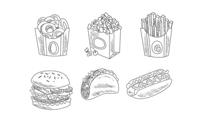 Vector set of hand drawn fast food icons. Bagels, popcorn, french fries, burger, tacos and hot dog