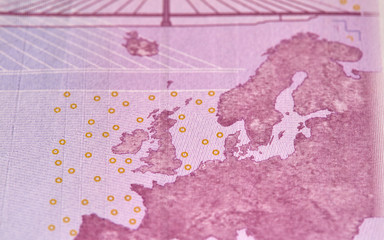 Five houndreds euro banknotes. 500 Euro paper cash. European Union Currency.  macro fragment banknote. High resolution photo