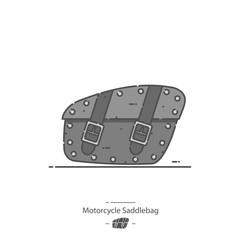 Motorcycle saddlebag - Line color icon